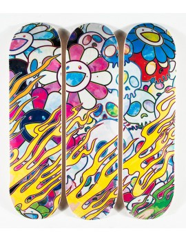 ComplexCon x Takashi Murakami Flaming Skull Skateboard Deck Set Multicolor
